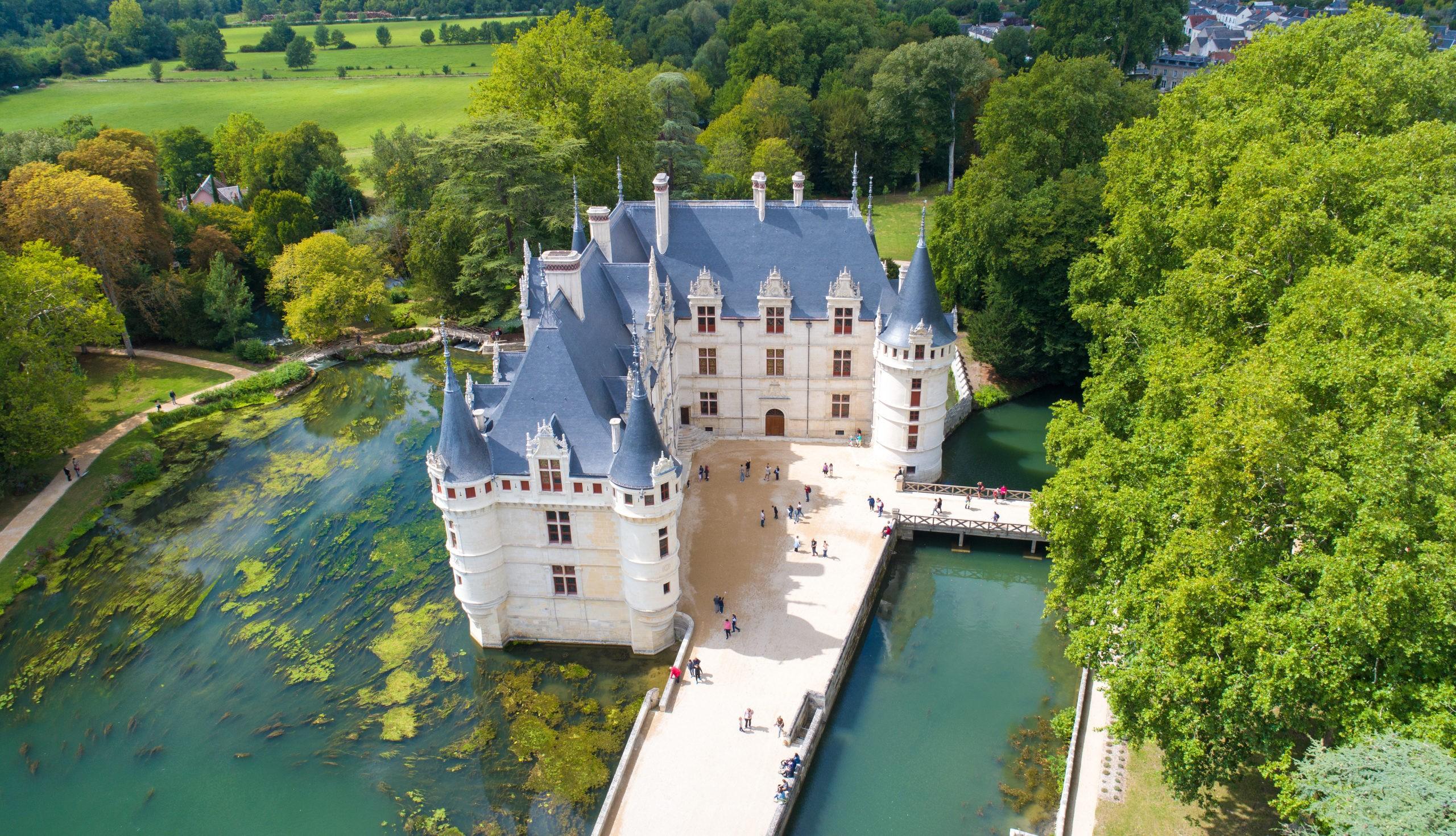 Photographie aerienne du chateau d Azay le Rideau